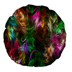 Fractal Texture Abstract Messy Light Color Swirl Bright Large 18  Premium Flano Round Cushions