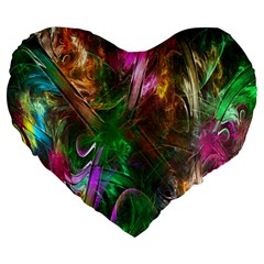 Fractal Texture Abstract Messy Light Color Swirl Bright Large 19  Premium Flano Heart Shape Cushions
