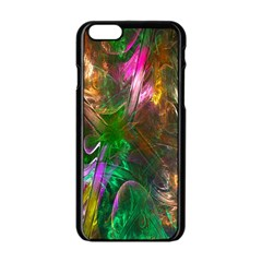 Fractal Texture Abstract Messy Light Color Swirl Bright Apple iPhone 6/6S Black Enamel Case
