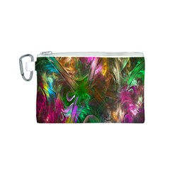Fractal Texture Abstract Messy Light Color Swirl Bright Canvas Cosmetic Bag (S)