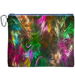 Fractal Texture Abstract Messy Light Color Swirl Bright Canvas Cosmetic Bag (XXXL)