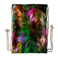 Fractal Texture Abstract Messy Light Color Swirl Bright Drawstring Bag (Large)