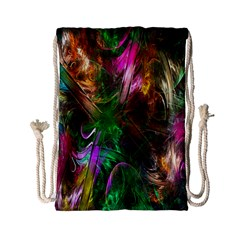 Fractal Texture Abstract Messy Light Color Swirl Bright Drawstring Bag (small)