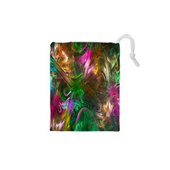 Fractal Texture Abstract Messy Light Color Swirl Bright Drawstring Pouches (XS)
