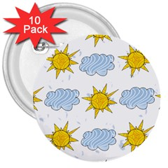 Sunshine Tech White 3  Buttons (10 pack)