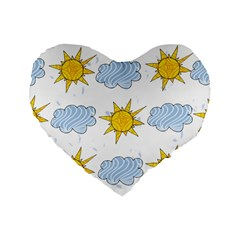 Sunshine Tech White Standard 16  Premium Heart Shape Cushions