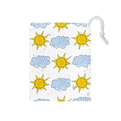 Sunshine Tech White Drawstring Pouches (Medium)