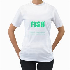 Fish Women s T Shirt (white) (two Sided)