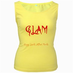 Glam Women s Yellow Tank Top