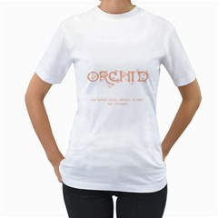 Orchid Women s T-Shirt (White) (Two Sided)