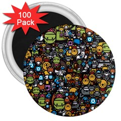 Many Funny Animals 3  Magnets (100 pack)