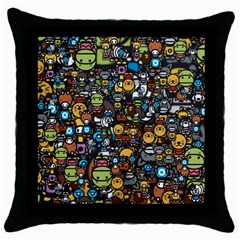 Many Funny Animals Throw Pillow Case (black)