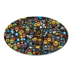 Many Funny Animals Oval Magnet