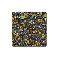 Many Funny Animals Square Magnet