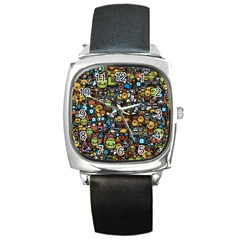 Many Funny Animals Square Metal Watch