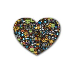 Many Funny Animals Heart Coaster (4 pack)