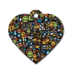 Many Funny Animals Dog Tag Heart (One Side)