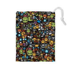 Many Funny Animals Drawstring Pouches (Large)