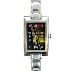 Abstract Multicolor Vectors Flow Lines Graphics Rectangle Italian Charm Watch