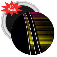 Abstract Multicolor Vectors Flow Lines Graphics 3  Magnets (10 pack)