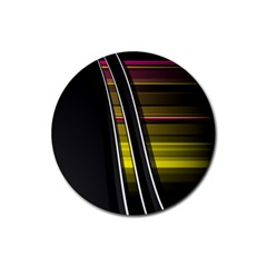 Abstract Multicolor Vectors Flow Lines Graphics Rubber Coaster (Round)