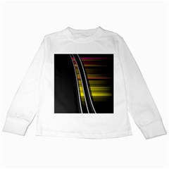 Abstract Multicolor Vectors Flow Lines Graphics Kids Long Sleeve T Shirts