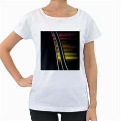Abstract Multicolor Vectors Flow Lines Graphics Women s Loose Fit T Shirt (white)