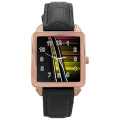 Abstract Multicolor Vectors Flow Lines Graphics Rose Gold Leather Watch