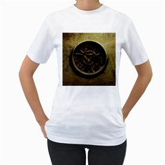 Abstract Steampunk Textures Golden Women s T Shirt (white) (two Sided)