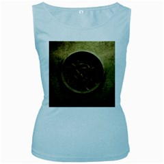 Abstract Steampunk Textures Golden Women s Baby Blue Tank Top