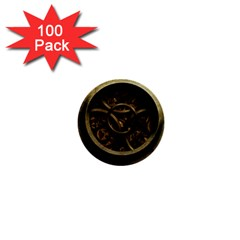 Abstract Steampunk Textures Golden 1  Mini Buttons (100 pack)