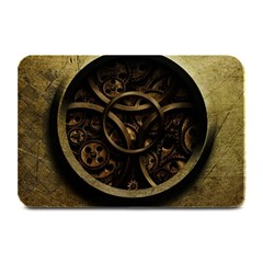 Abstract Steampunk Textures Golden Plate Mats