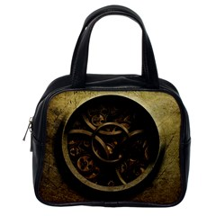 Abstract Steampunk Textures Golden Classic Handbags (One Side)