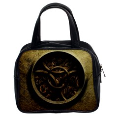 Abstract Steampunk Textures Golden Classic Handbags (2 Sides)