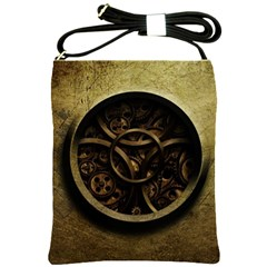Abstract Steampunk Textures Golden Shoulder Sling Bags