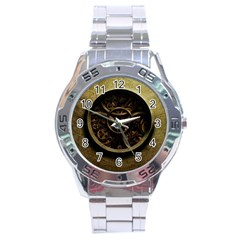 Abstract Steampunk Textures Golden Stainless Steel Analogue Watch
