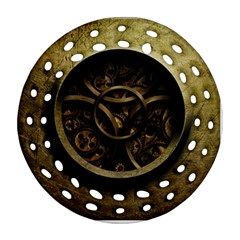 Abstract Steampunk Textures Golden Round Filigree Ornament (two Sides)