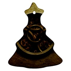 Abstract Steampunk Textures Golden Christmas Tree Ornament (two Sides)