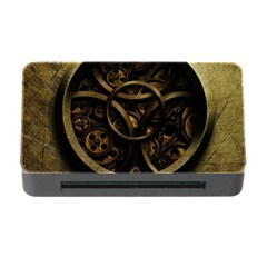 Abstract Steampunk Textures Golden Memory Card Reader with CF