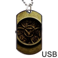 Abstract Steampunk Textures Golden Dog Tag USB Flash (Two Sides)