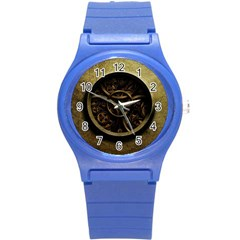 Abstract Steampunk Textures Golden Round Plastic Sport Watch (S)