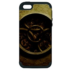 Abstract Steampunk Textures Golden Apple iPhone 5 Hardshell Case (PC+Silicone)