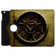 Abstract Steampunk Textures Golden Apple iPad Mini Flip 360 Case
