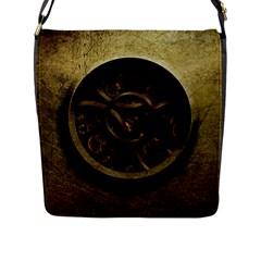 Abstract Steampunk Textures Golden Flap Messenger Bag (l)