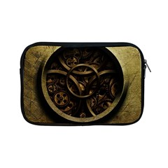 Abstract Steampunk Textures Golden Apple iPad Mini Zipper Cases