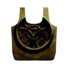 Abstract Steampunk Textures Golden Full Print Recycle Bags (M)