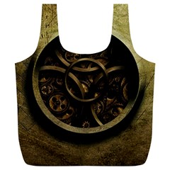 Abstract Steampunk Textures Golden Full Print Recycle Bags (L)