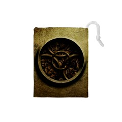 Abstract Steampunk Textures Golden Drawstring Pouches (Small)