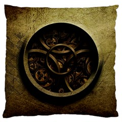 Abstract Steampunk Textures Golden Standard Flano Cushion Case (Two Sides)