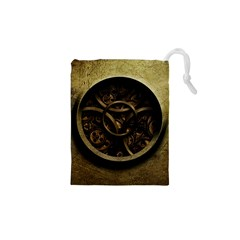 Abstract Steampunk Textures Golden Drawstring Pouches (xs)